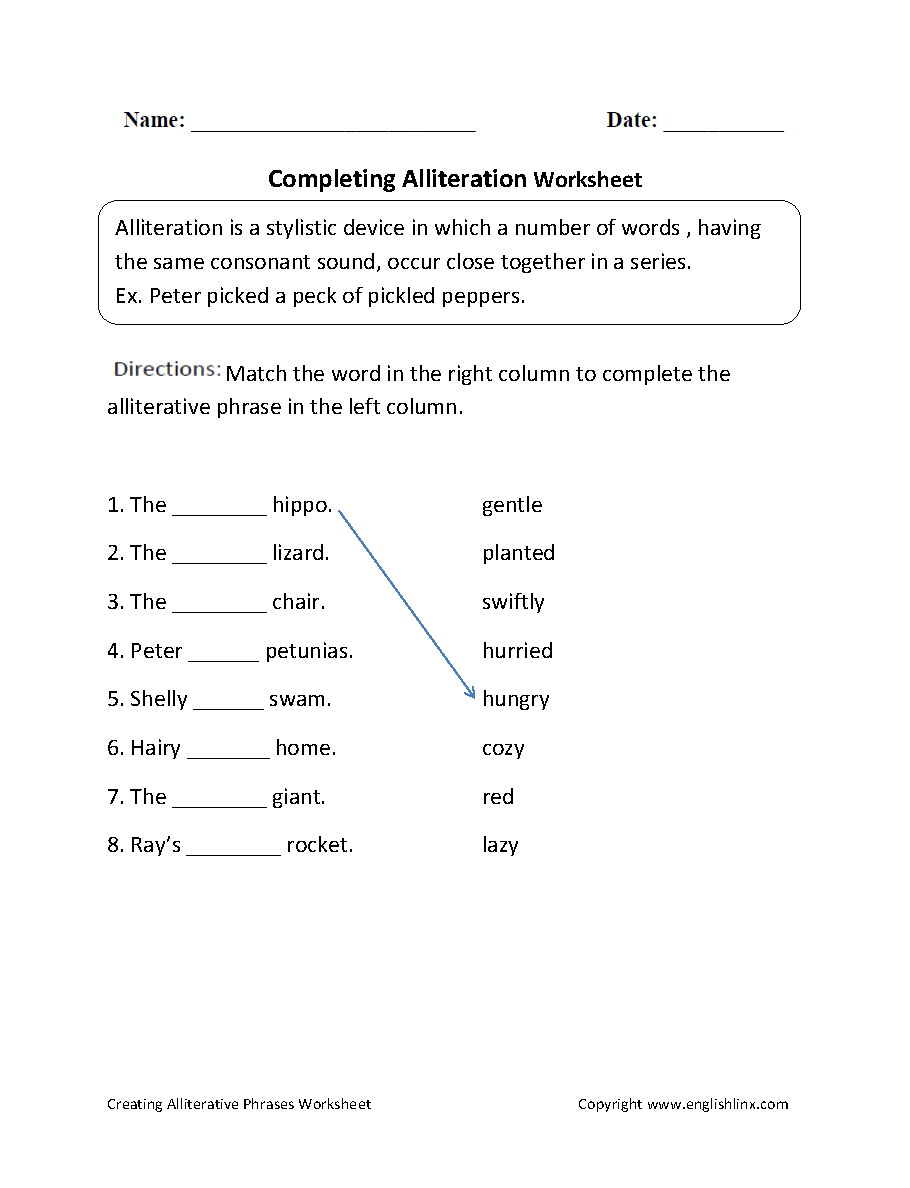 medium resolution of Englishlinx.com   Alliteration Worksheets   Alliteration
