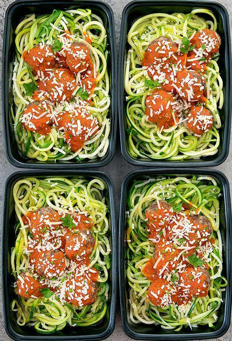 Zucchini Noodles with Meatballs Meal Prep (Keto, Low Carb) #crockpotmealprep