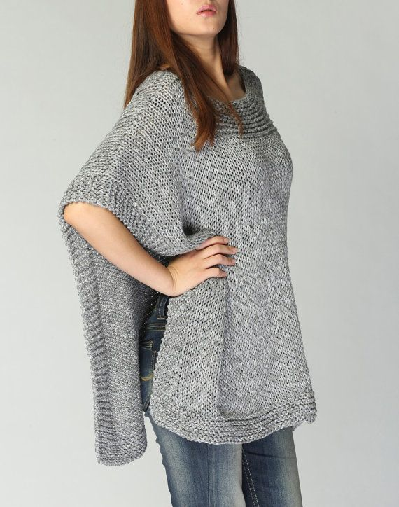 Hand knitted Poncho/ capelet grey eco cotton poncho | Chalecos y ...