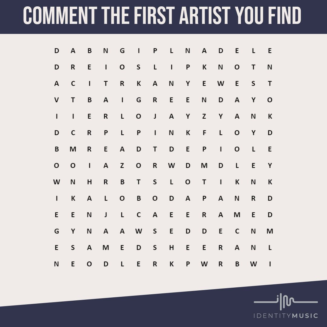 Comment the first Artist you find! 👀  Tag a friend to see who they find! 🤝 How many can you see? 🔎  🎵Supporting all ranges of artists & labels 🎵Music Distribution, Rights Management & Promotion 🎵Follow for Industry Tips and News  #musicproducers #musicproduction #producerlife #recordingstudio #mastering #studios #puzzle #studioflow #audioengineer #beatmaker #beatmakers #inthestudio #studiolife #homerecording #composer #sounddesign #producing #music #musiclife #musician #wordsearch #mixing