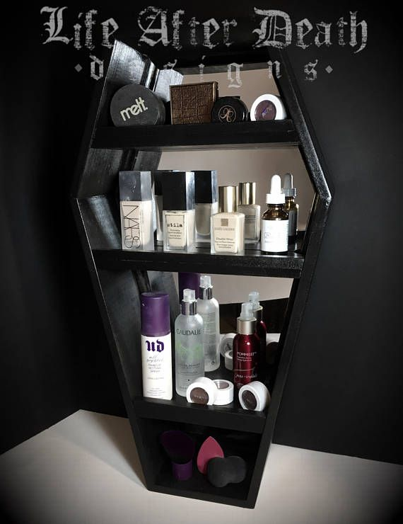 Mirrored Coffin Vanity Shelf This Coffin Shelf Is Perfect For You Glamour Ghouls With A Mirror Backing Black Makeup Vanity Makeup Shelves Glass Makeup Vanity