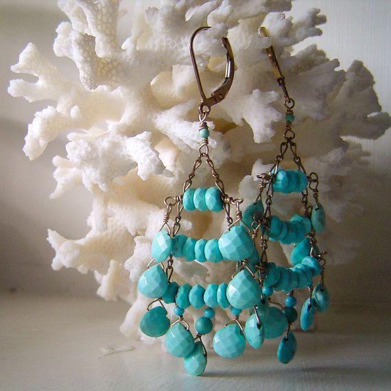 Sleeping beauty turquoise Chandelier earrings by lilatrejo on Etsy
