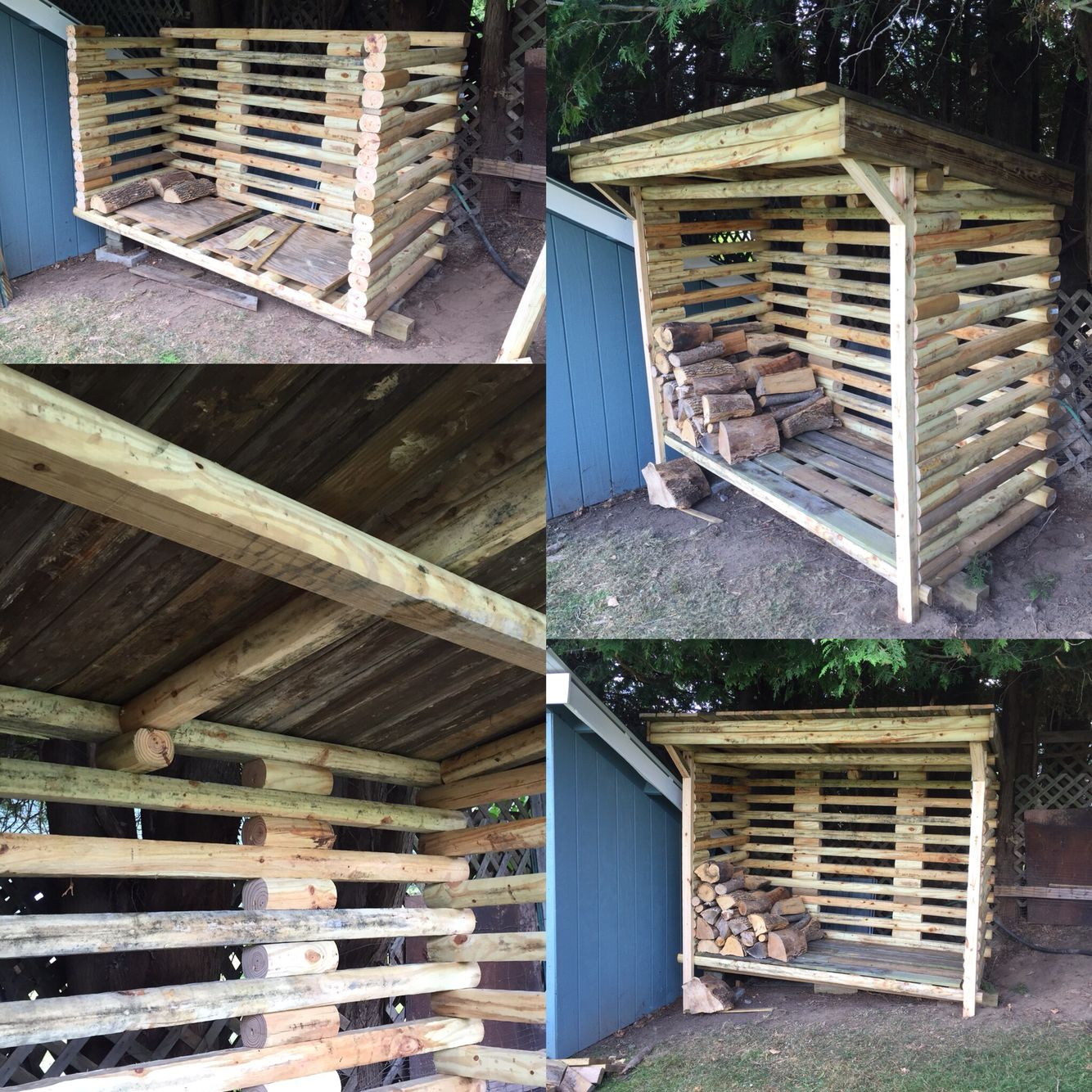 Landscape timber wood shed. Buy timbers when they go on sale at big stores.  $1.69 I built this for under $100 and it will hold just over two face cords. - Landscape Timber Wood Shed. Buy Timbers When They Go On Sale At Big