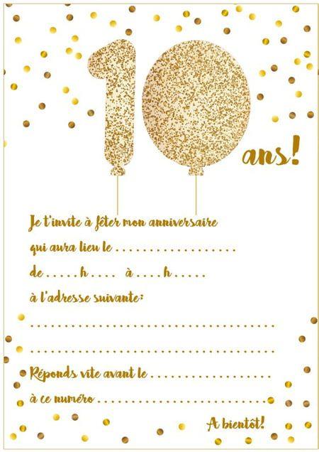 Carte d'invitation d'anniversaire 10ans