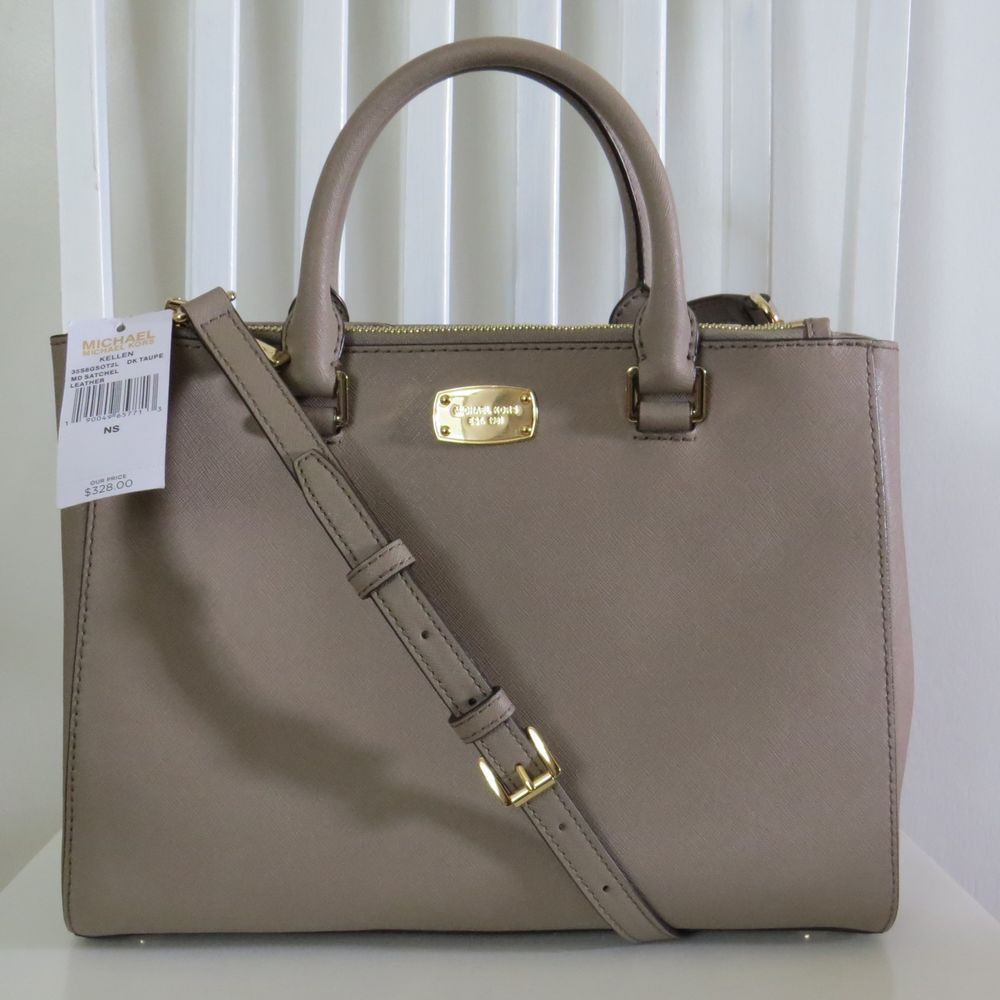 590b6e459439 Michael Kors Medium Kellen Sutton Dark Taupe Gold Satchel  328 EUC!   MichaelKors  Satchel