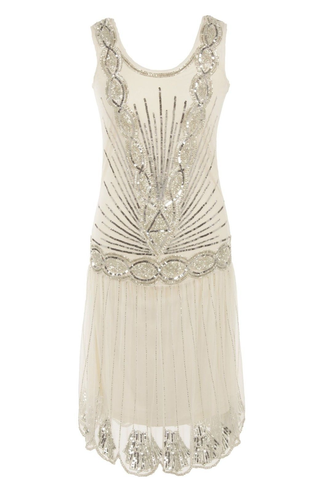 CREAM off-white SEQUIN CHARLESTON FLAPPER uk 10 GATSBY dress 1920\'s ...