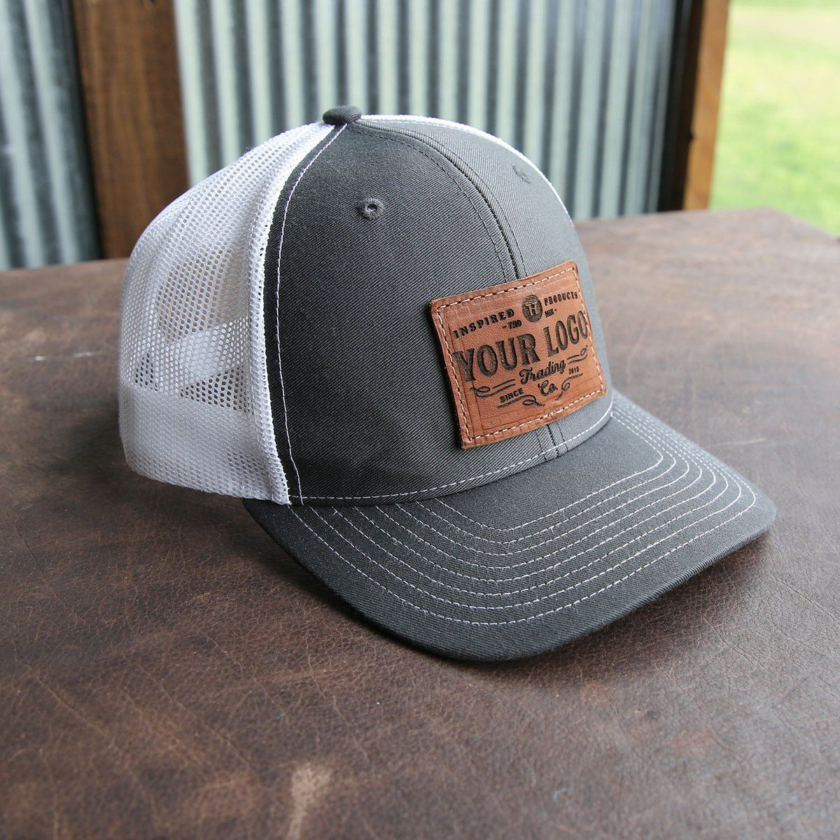 cb151b22848 Custom Leather Patch Hat with YOUR LOGO - Customized
