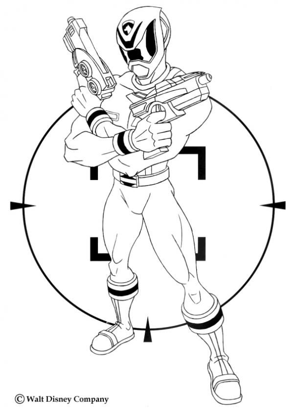 Power Ranger with laser guns coloring page. Nice coloring sheet from Power Rangers serie. More content on hellokids.com