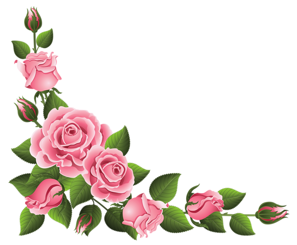Corner Decoration With Roses Png Clipart Picture Clip Art Borders Flower Art Flower Painting
