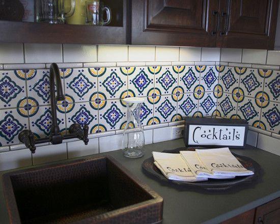 mexican tile backsplash kitchens pinterest