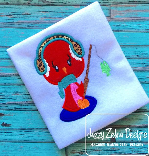 Girl Winter Bird Fishing Appliqué Design: Jazzy Zebra Designs