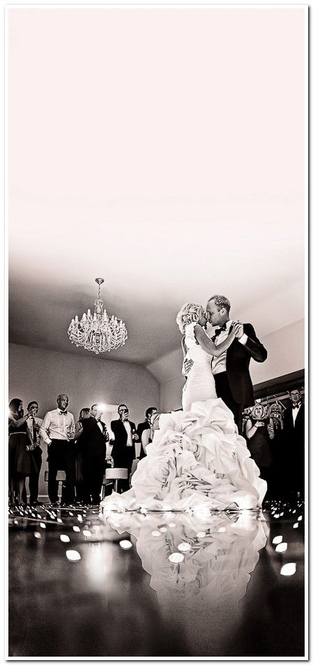 low perspective of the first dance. love the dress too