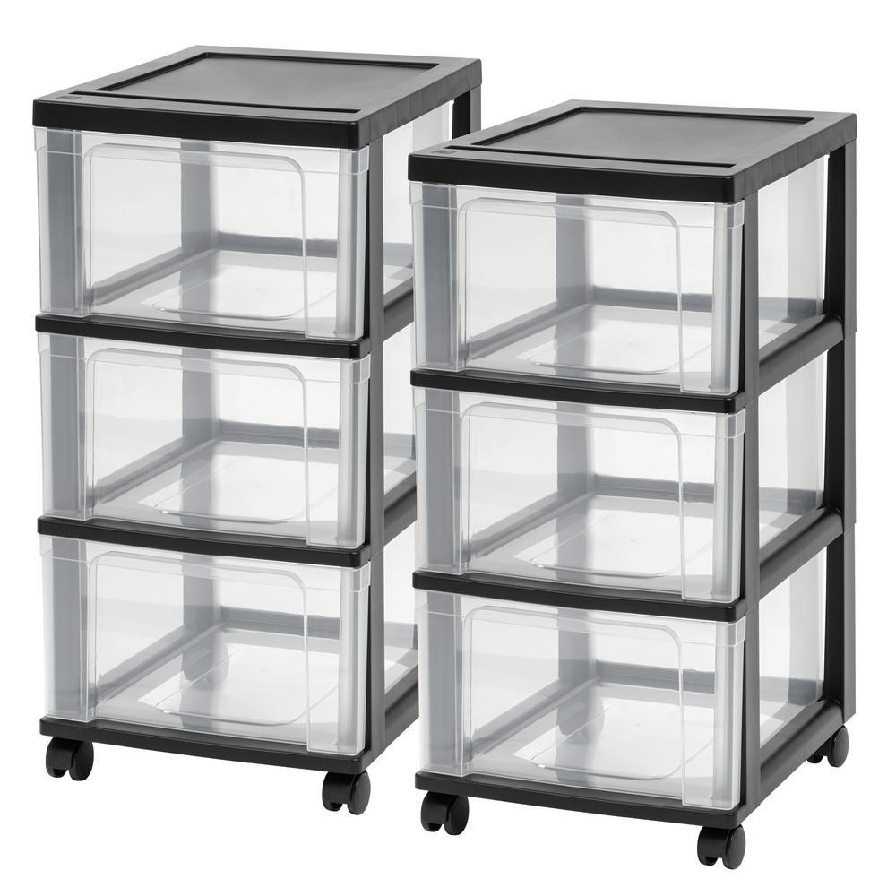 Iris 3 Drawer Plastic Wheeled Storage Cart In Black 2 Pack Storage Cart Storage Drawers Drawers