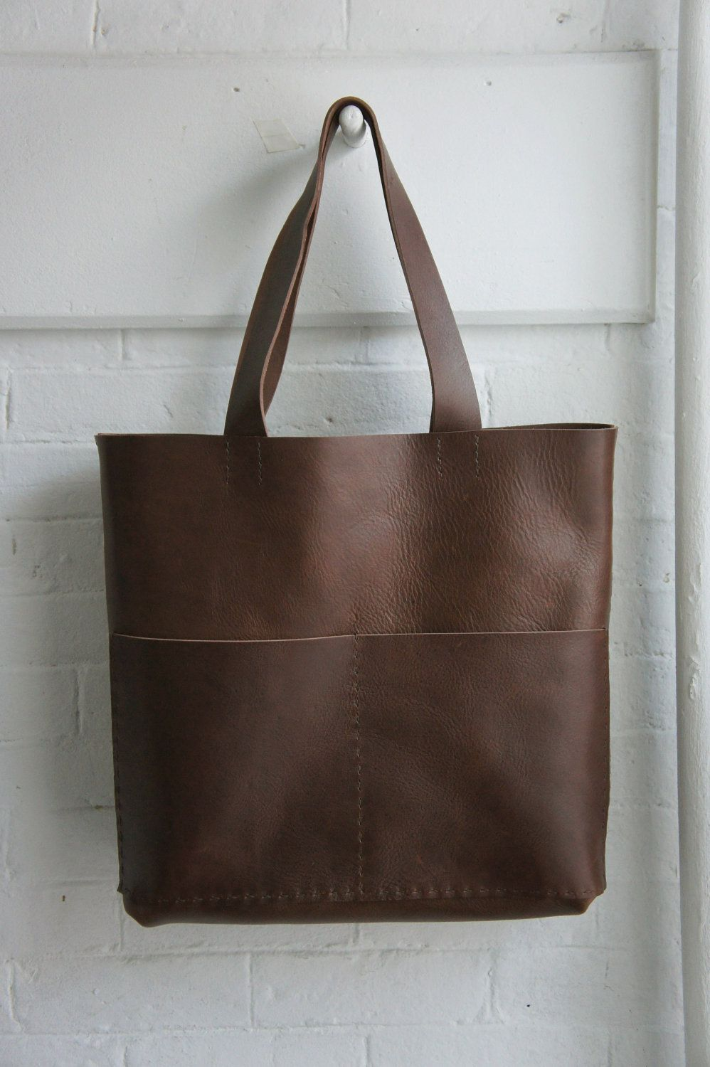 Heavy Leather Tote - Havana Brown - Unisex - Long Straps. $375.00, via Etsy.