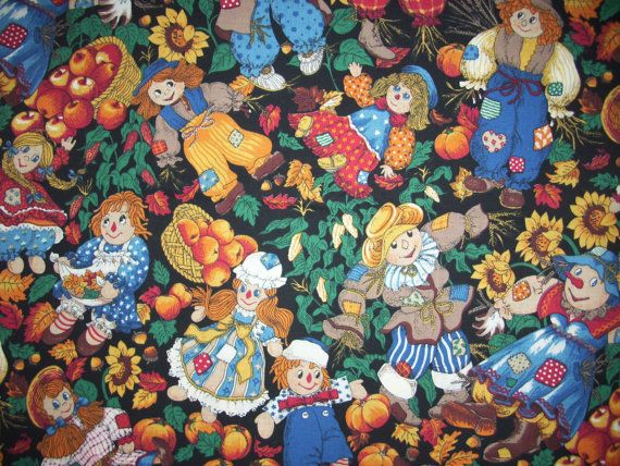 Cotton Quilt Fabric Raggedy Ann Andy Rag Doll Autumn Scarecrow by 1//2 Yard