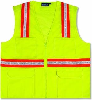 Non Ansi Surveyor Safety Zipper Lime Vests With