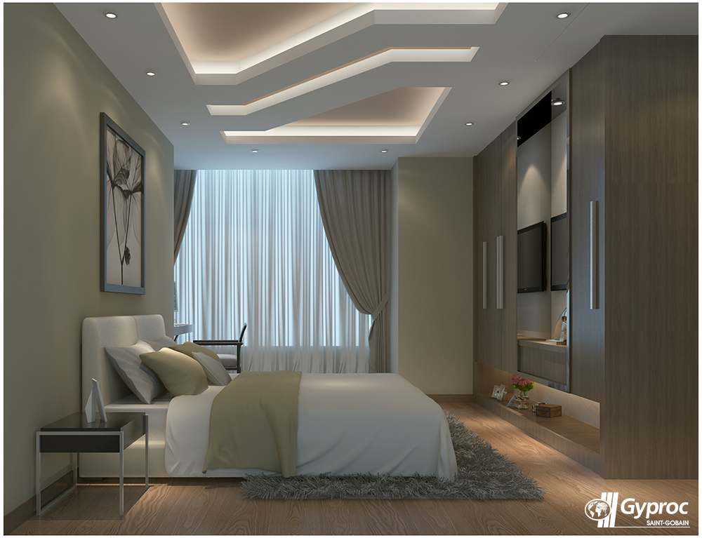Light up your home with this peaceful & serene white coloured Gyproc India  #  Ceiling Design ...