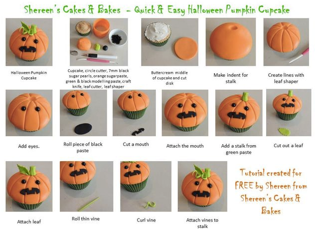 Citrouille en p te sucre tutoriales pumpkin cupcakes cupcake cakes et halloween pumpkins - Citrouille effrayante ...