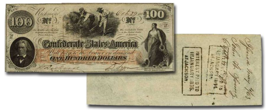 1862 $100 DOLLAR CONFEDERATE STATES CURRENCY CIVIL WAR HOER NOTE CSA PAPER