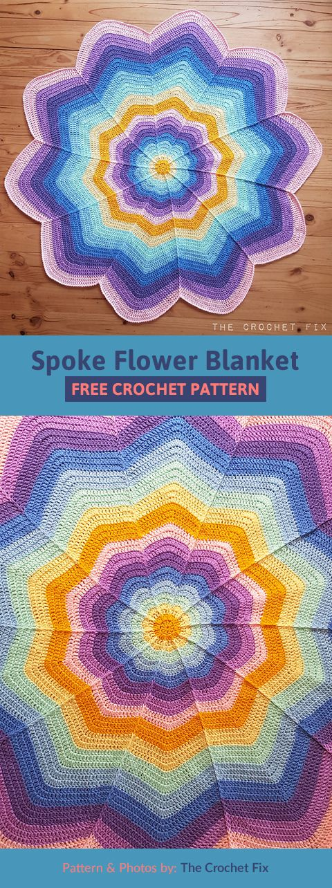 Spoke Flower Blanket Free Crochet Pattern images