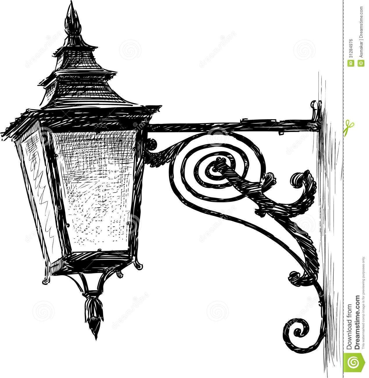 Royalty free stock photo antique lantern light street isolated ... for Street Light Sketch  126eri