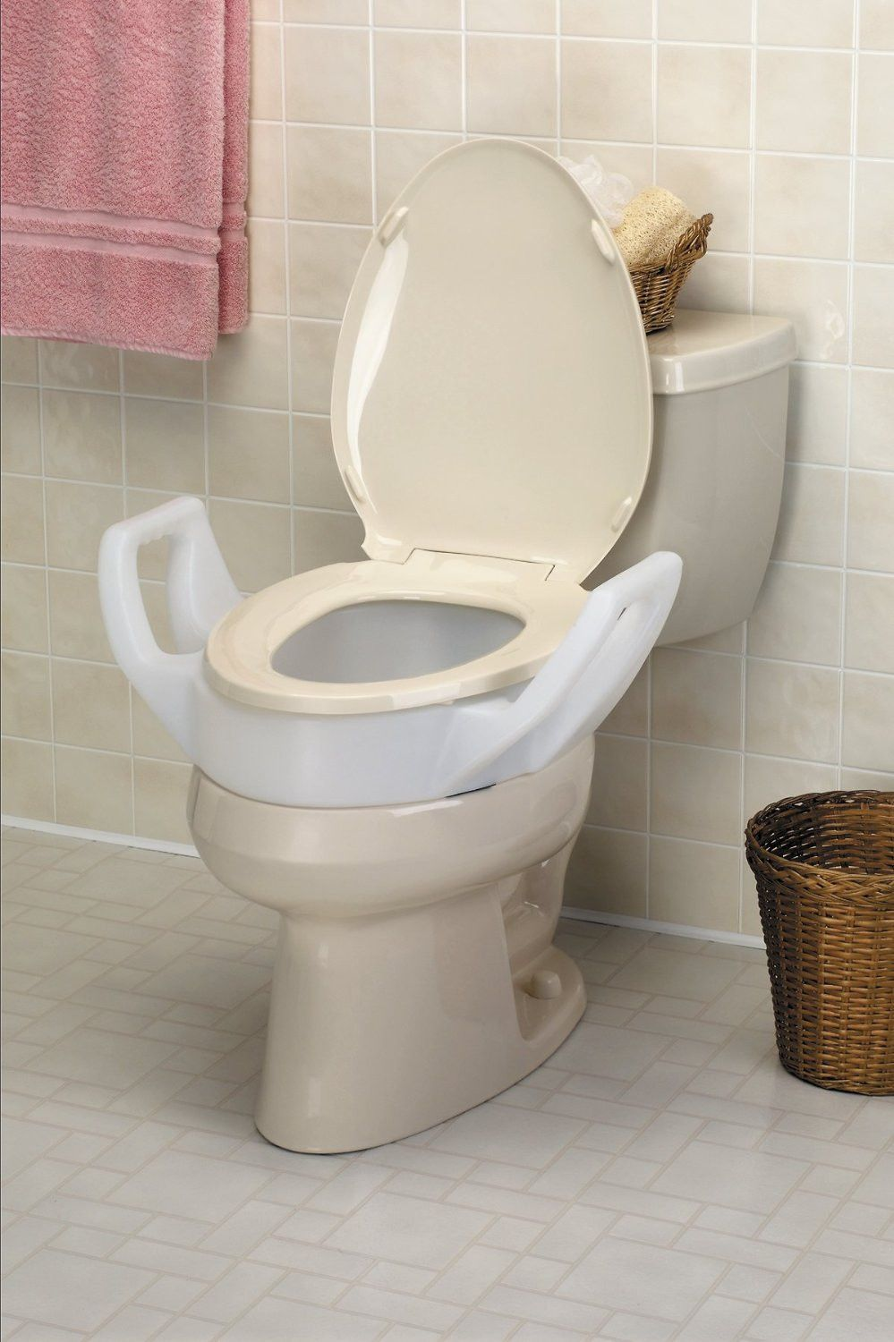 Raised Toilet Elongated Elevated Seat with Arms,fits In
