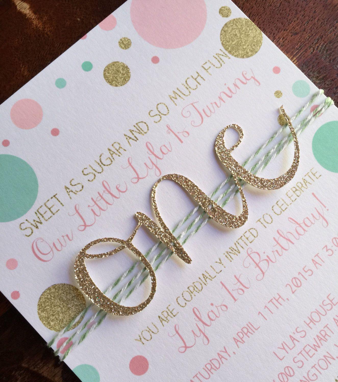 First birthday invitation Girl Birthday Invitation Pink Gold