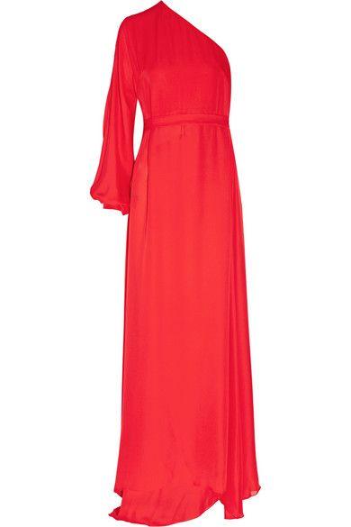 ROSETTA GETTY One-Sleeve Silk-Chiffon Wrap Gown. #rosettagetty #cloth #