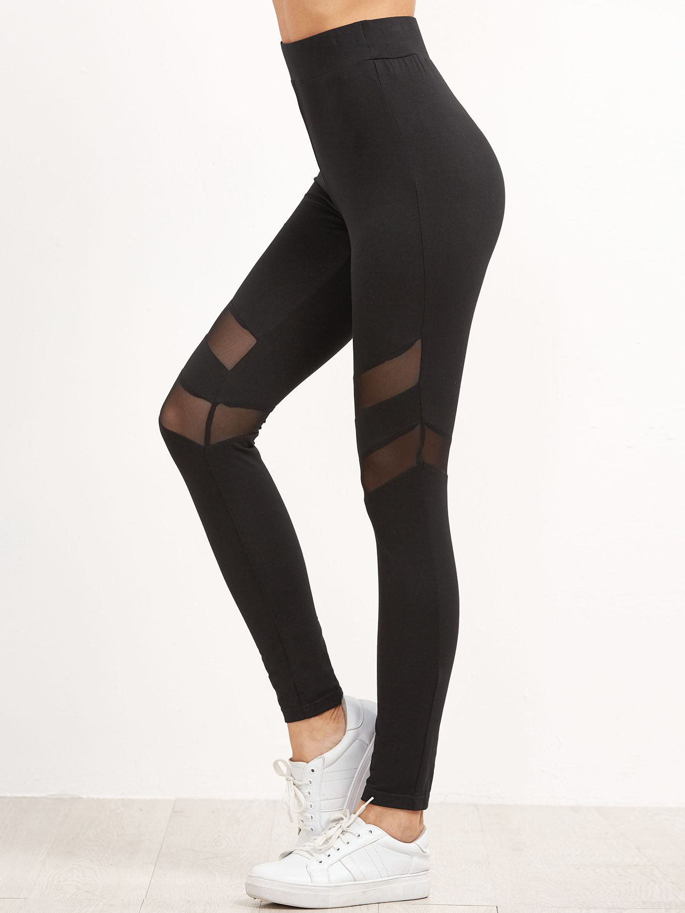 824595ad9a Shop Black High Waist Leggings With Mesh Panel Detail online. SheIn offers  Black High Waist Leggings With Mesh Panel Detail & more to fit your  fashionable ...