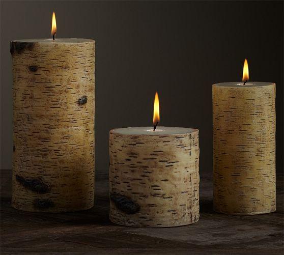 Flameless Flicker Birch Pillar Candles Pottery Barn