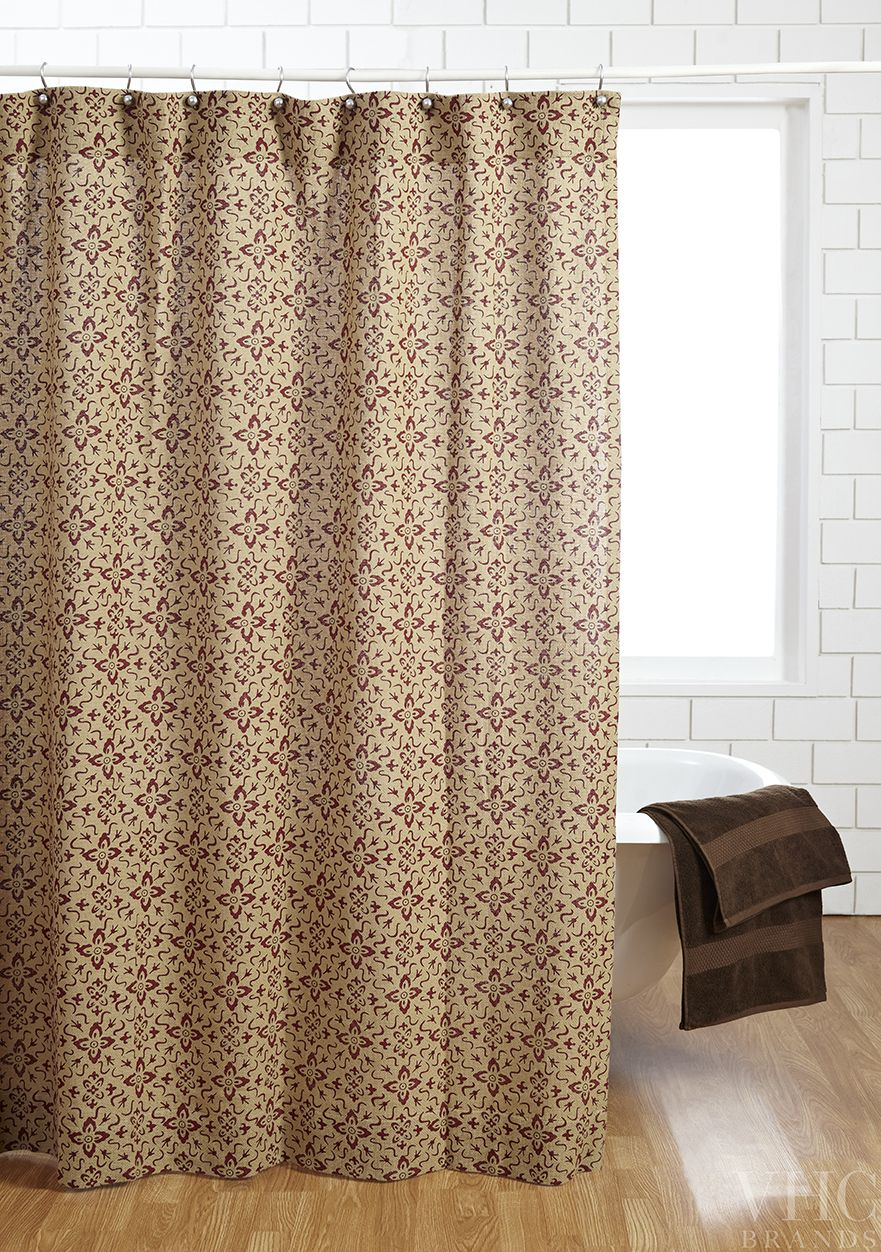 The Lewiston Stenciled Burlap Shower Curtain From Www Vhcbrands