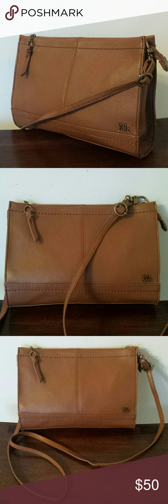 """NEW SOFT LEATHER CROSSBODY Perfect with any outfit is this The Sak butter soft leather crossbody. Adjustable strap cab be made much shorter. Interior has one large open section with zipper compartment and two open pockets. Zip closure and snap closure at side. This is new and still has plastic tag just not the price  Measures  10"""" length 7"""" hight 2 1/2""""Depth Strap is adjustable The Sak Bags Crossbody Bags"""