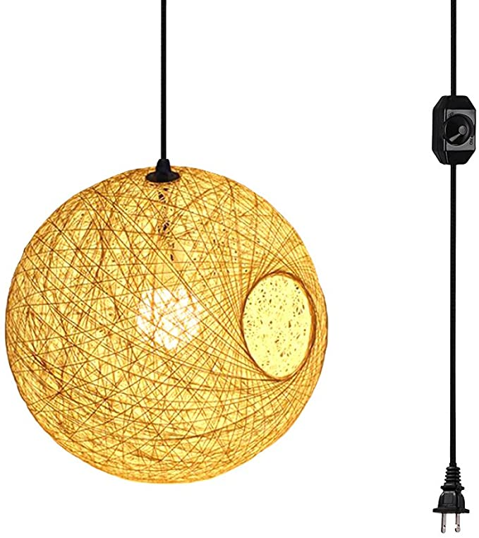 Plug In Dimmable Modern 7 87 Inch Cream Lattice Wicker Rattan Globe Ball Style Ceiling Pendant Light Lamps In 2020 Pendant Light Ceiling Pendant Ceiling Pendant Lights