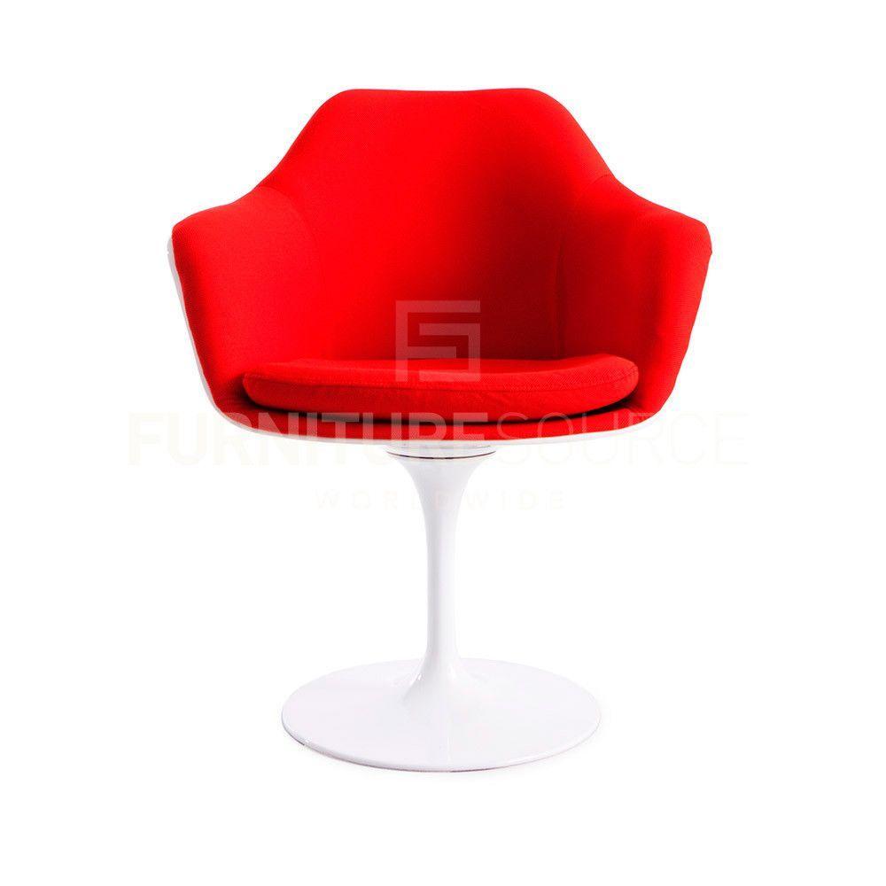 Eero Saarinen Upholstered Tulip Style Arm Dining Lounge Chair  # Muebles Eero Saarinen