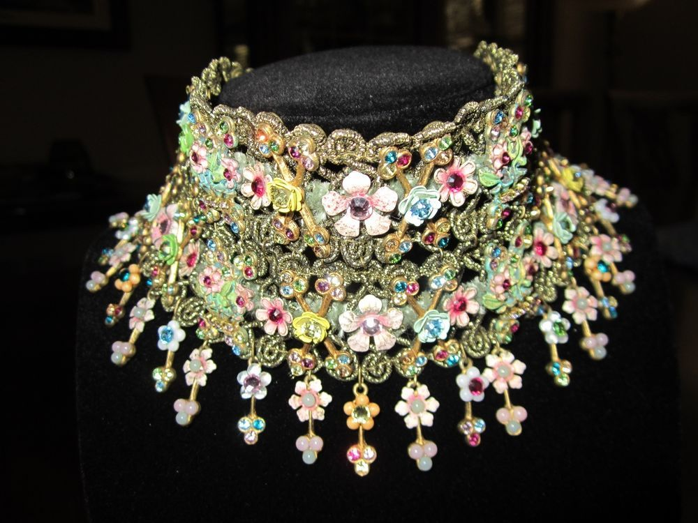 MICHAL NEGRIN Signed Victorian Lace Chocker Necklace Earrings Crystals Flowers #MichalNegrin