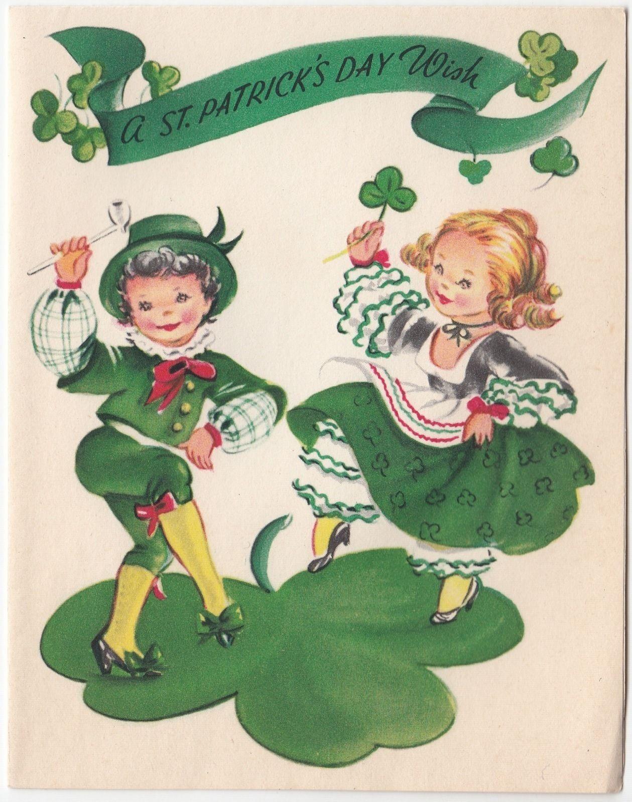 vintage greeting card st patrick u0026 39 s day children dancing
