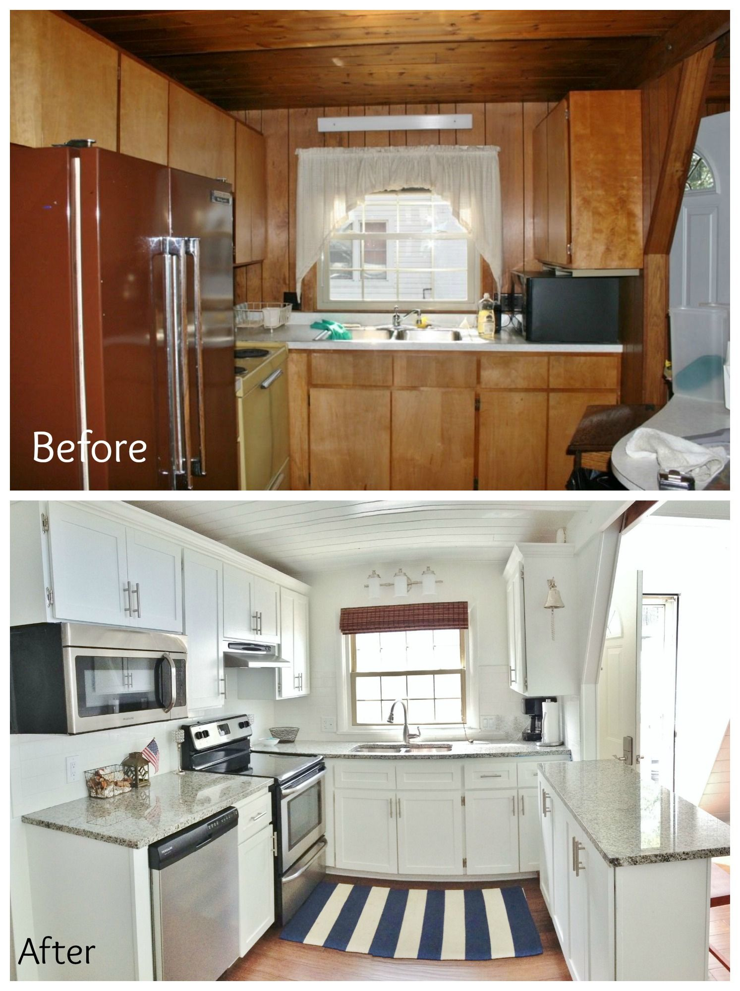 A-Frame kitchen remodel. Refaced the cabinets by adding trim and ...