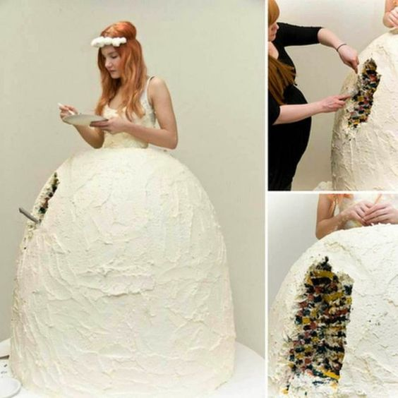 3366759a8ed Worst wedding dresses  Edible wedding dress. Who says the bride never has  time to eat !  worst  wedding  dress
