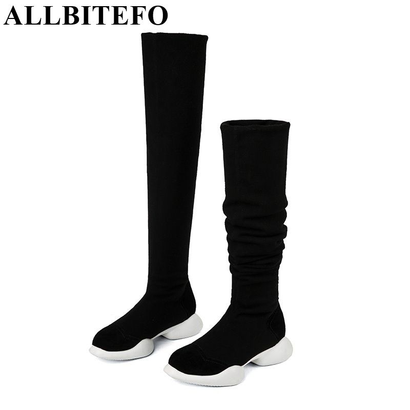 ddb1966fb6ef ALLBITEFO genuine leather+Stretch fabrics Elastic boots tube winter snow  women boots fashion low-heeled over the knee high boots Price: 94.85 & FREE  ...
