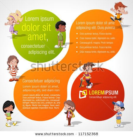Colorful template for advertising brochure with a group of cute