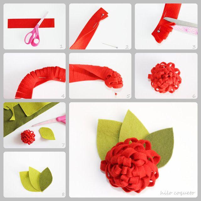 Tutorial aprender paso a paso a hacer una flor pomp n de for Decoraciones para el pelo