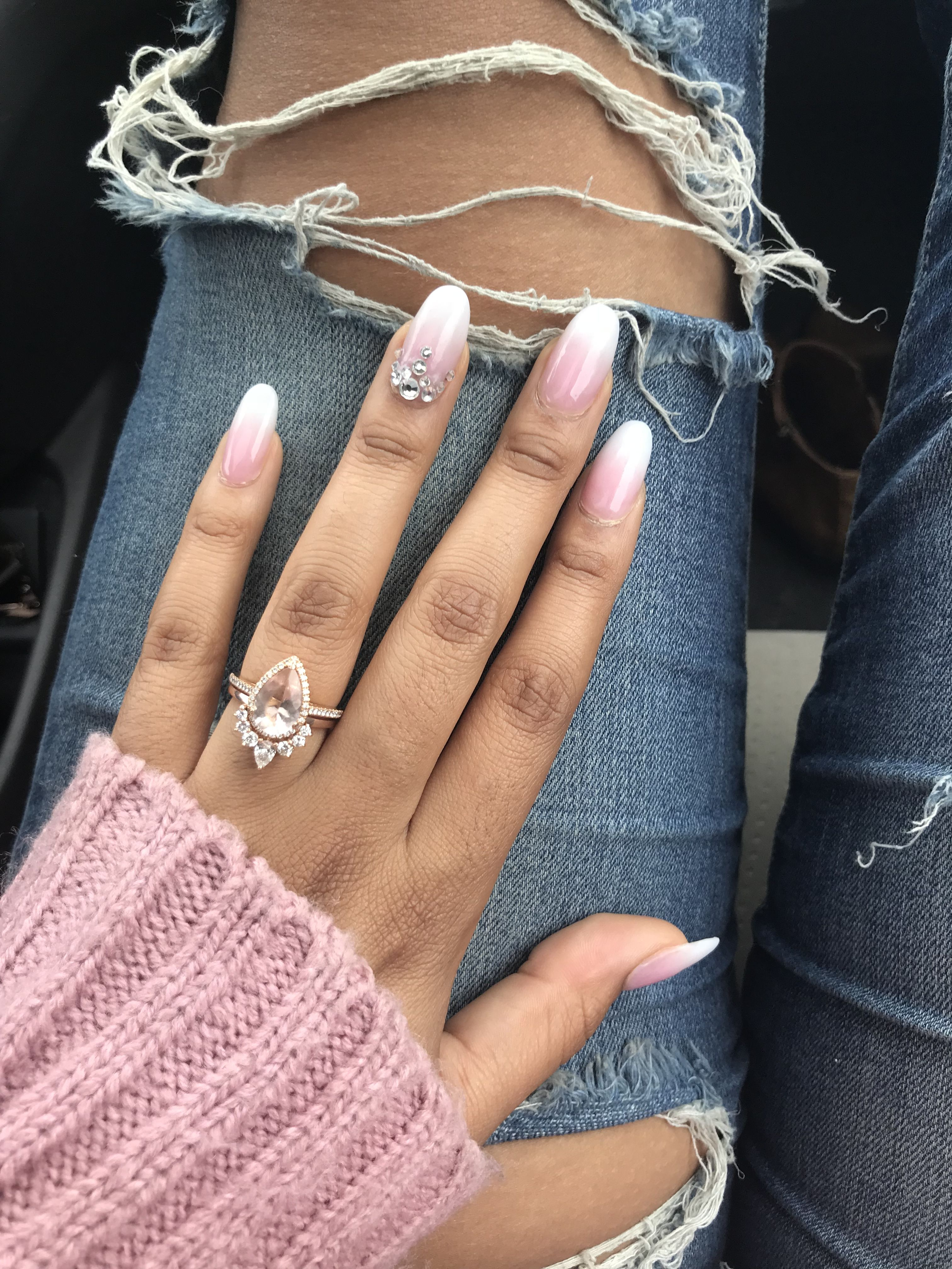 Teardrop Engagement Ring With Diamond Nesting Wedding Band Rose