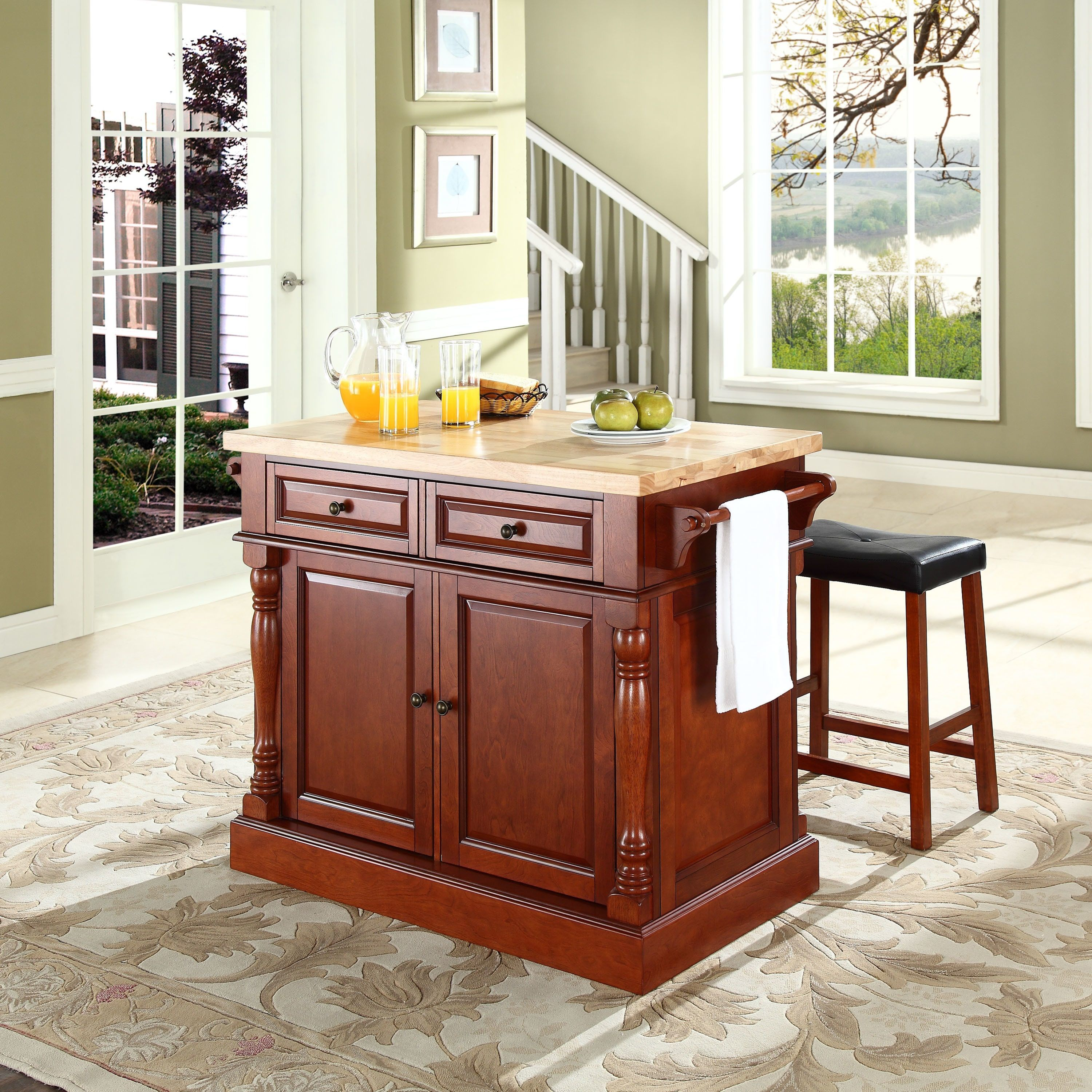 Crosley Furniture Oxford Butcher Block Top Kitchen Island In Cherry Finish With 24 Upholstered Saddle Stools Brown
