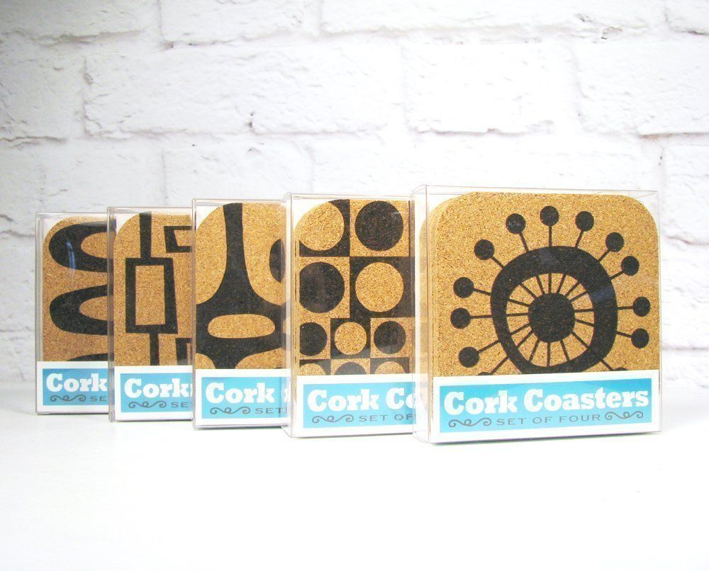 Mid Century Retro Modern Cork Coaster Set of 4