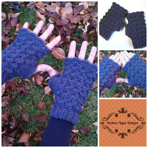 Shells and Bobbles Fingerless Gloves Free Crochet Patttern | Crochet ...