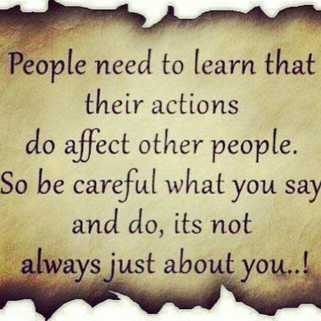 Actions affect people