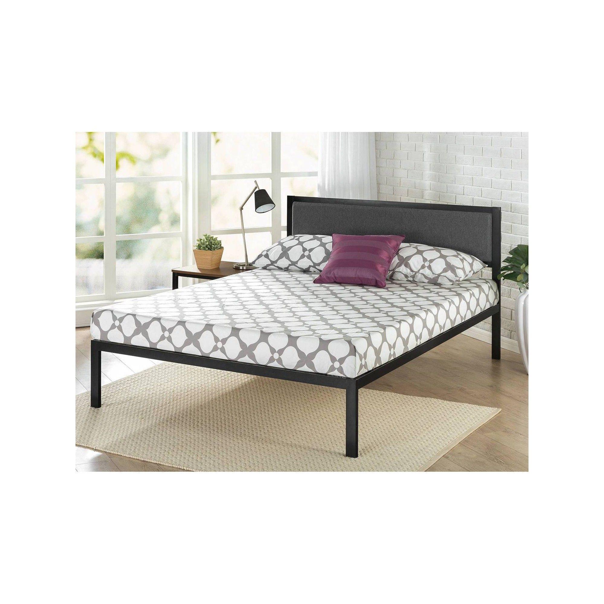 Queen Korey Platform Metal Bed Frame With Upholstered Headboard