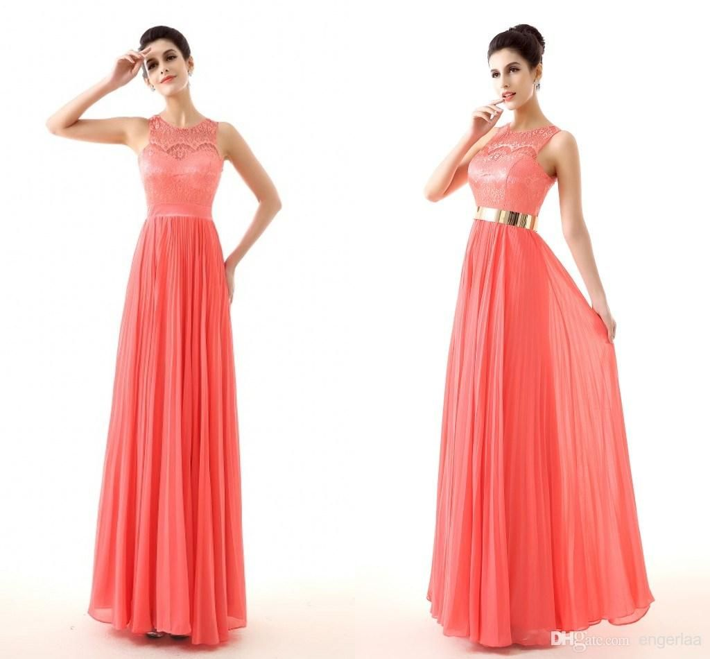 Lace Coral Prom Dresses Gold Belt Keyhole Back Real Image Cheap Plus ...