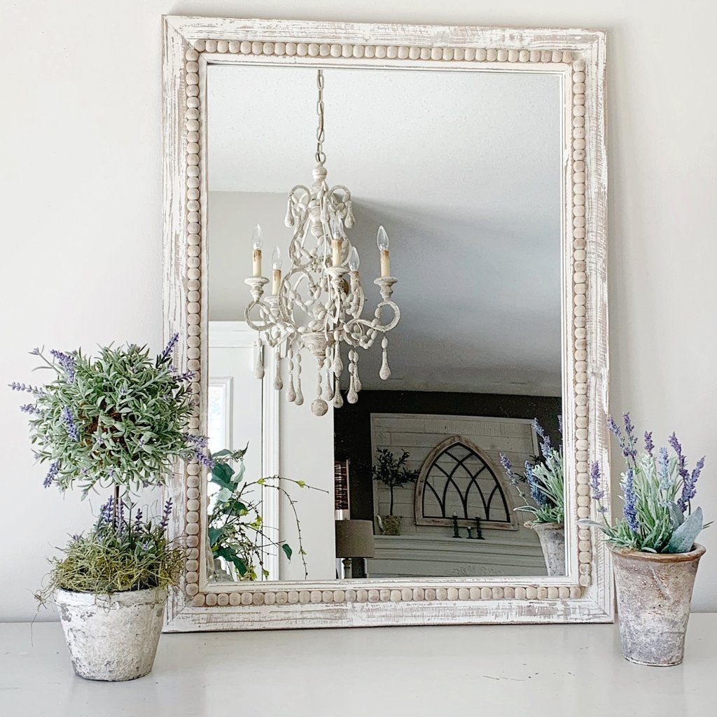 Arya Wood Bead Mirror In White Wash Beaded Mirror White Mirror Frame White Wash