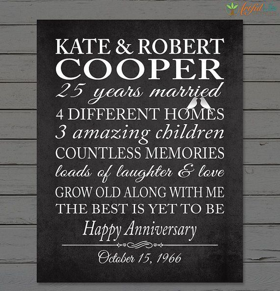 38 Year Wedding Anniversary Gift: SILVER 25th ANNIVERSARY Gift, Parents Anniversary, 25th